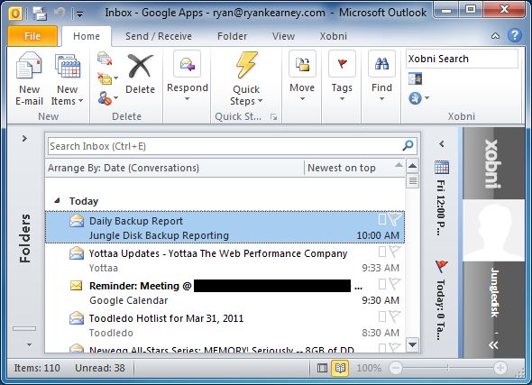 Email Inbox in Microsoft Outlook