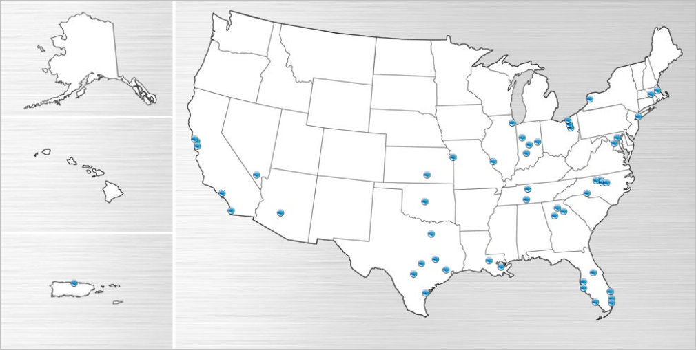 Map of the US showing AT&T's sparse LTE coverage.